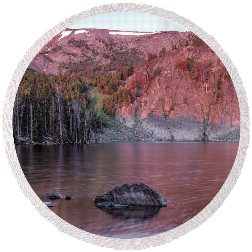 Altitude Round Beach Towel featuring the photograph Basin Lake Sunrise 2 by Leland D Howard
