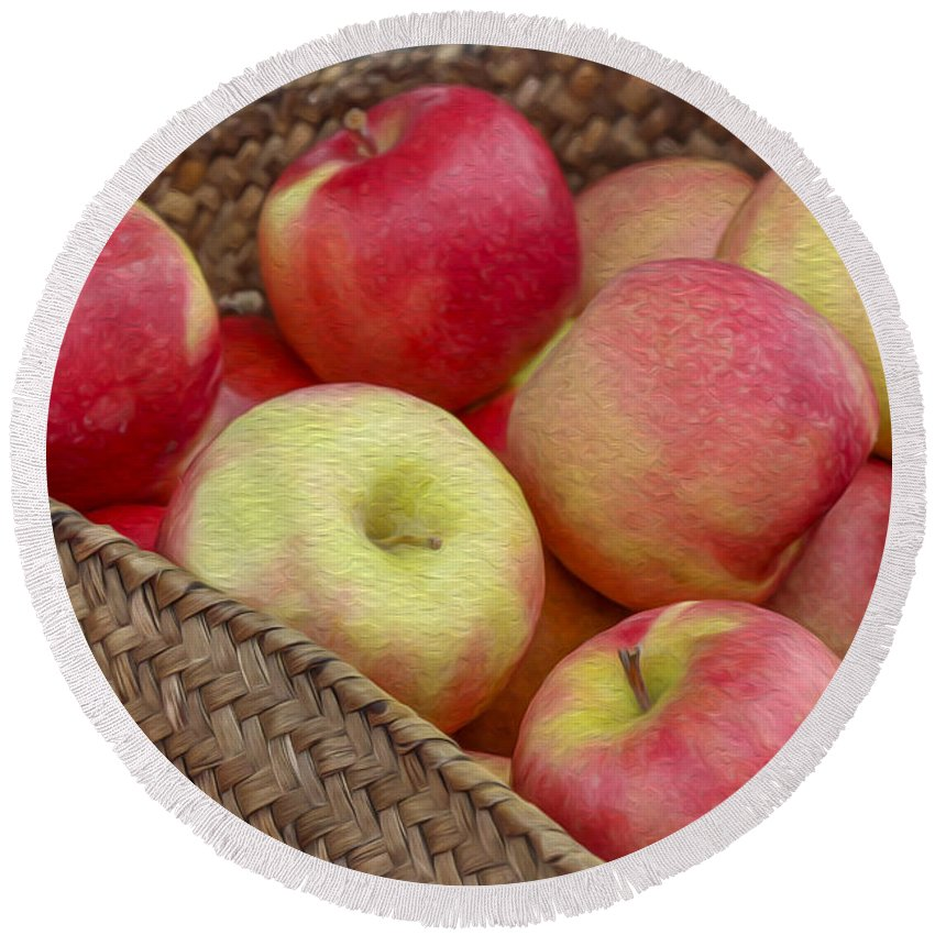 Apples Round Beach Towel featuring the photograph Basket Of Apples by Spencer Studios
