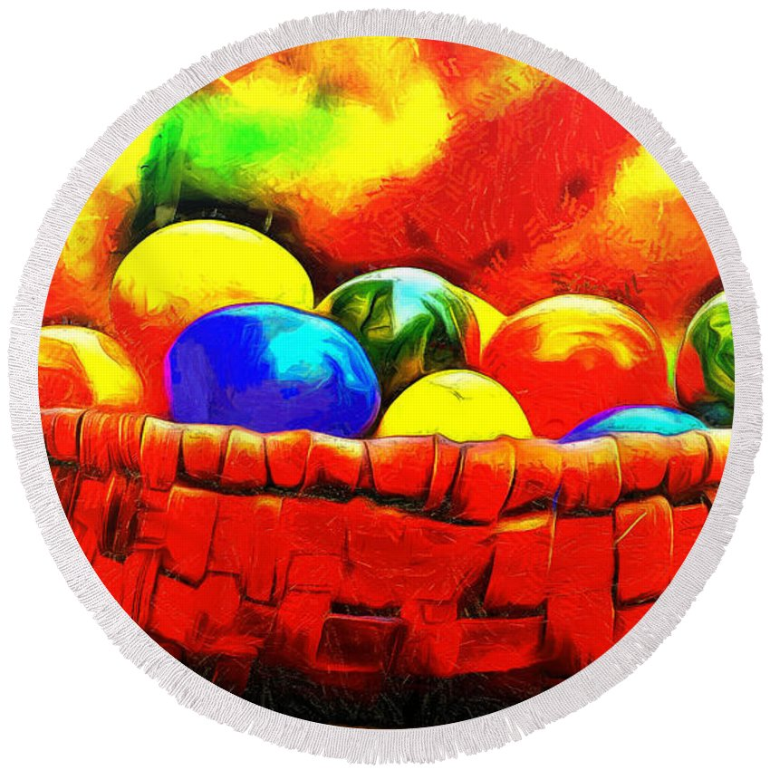 Basket Round Beach Towel featuring the painting Basket Of Eggs - Pa by Leonardo Digenio