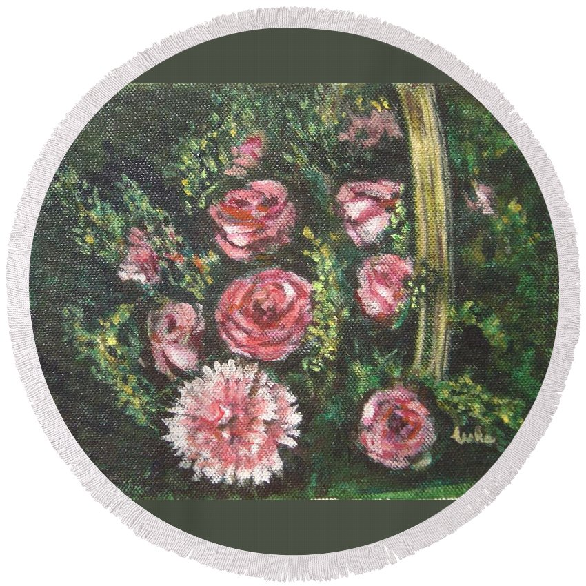 Basket Round Beach Towel featuring the painting Basket Of Pink Flowers by Usha Shantharam