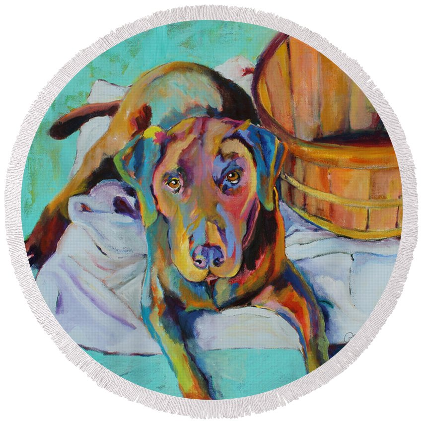 Chocolate Lab Round Beach Towel featuring the painting Basket Retriever by Pat Saunders-White