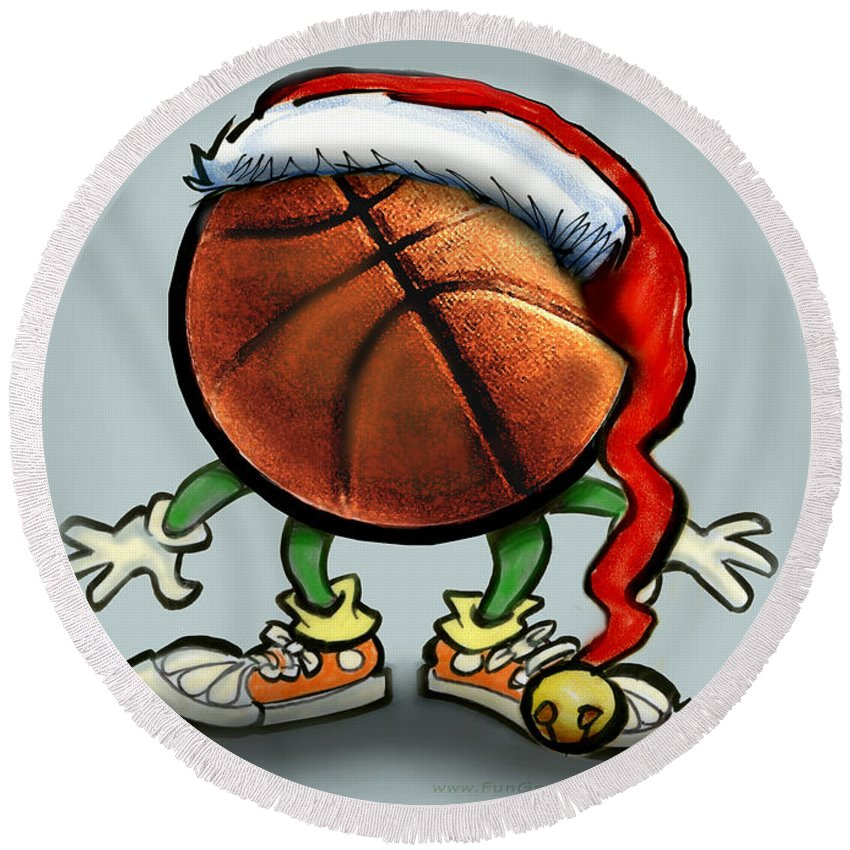 Basketball Round Beach Towel featuring the greeting card Basketball Christmas by Kevin Middleton