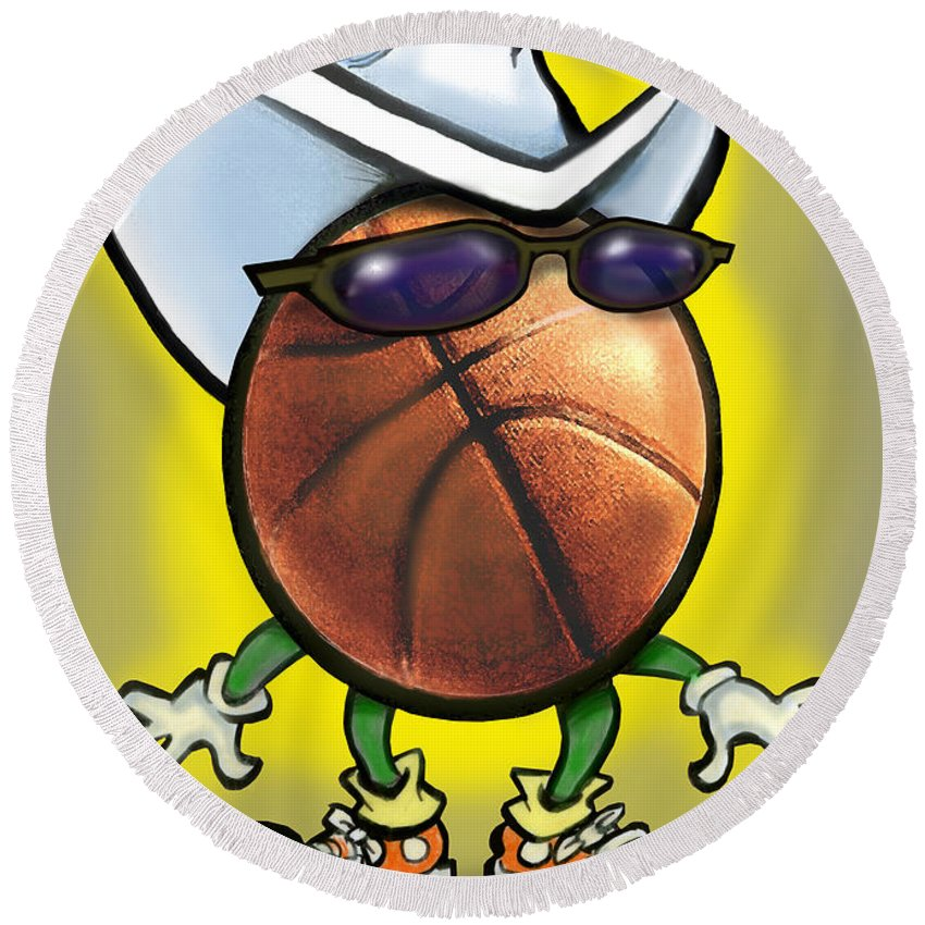 Basketball Round Beach Towel featuring the digital art Basketball Cowboy by Kevin Middleton