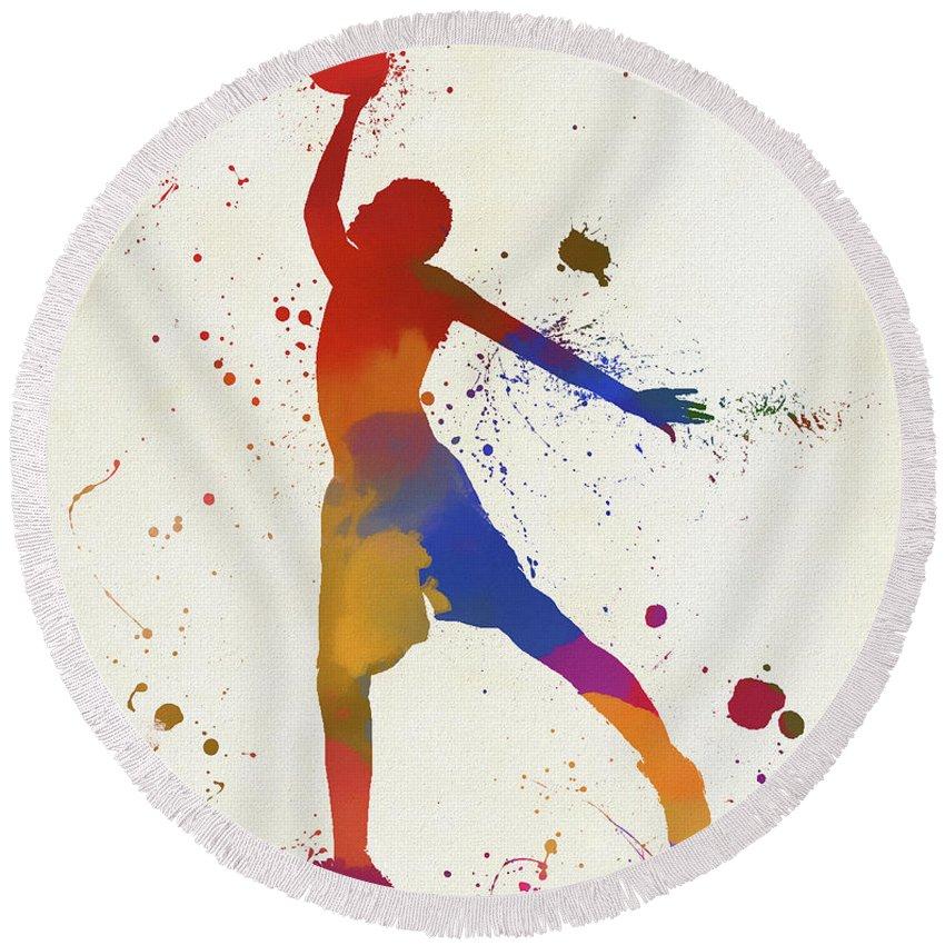 Basketball Player Paint Splatter Round Beach Towel featuring the painting Basketball Player Paint Splatter by Dan Sproul