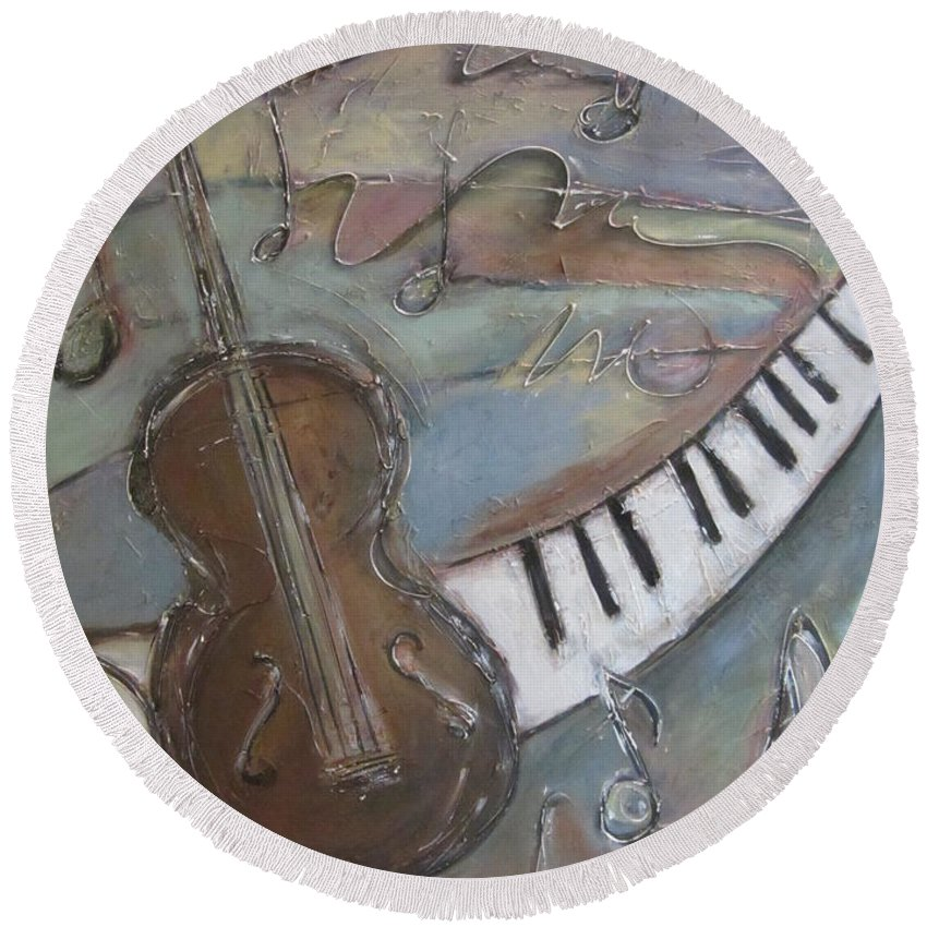 Painting Round Beach Towel featuring the painting Bass And Keys by Anita Burgermeister
