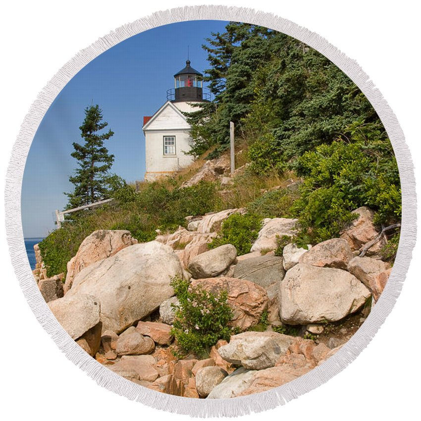 Travel Round Beach Towel featuring the photograph Bass Harbor Lighthouse Mt Desert Island Maine by Louise Heusinkveld