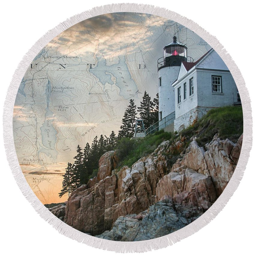 Round Beach Towel featuring the digital art Bass Harbor Lighthouse On Maine Nautical Chart by Jeff Folger