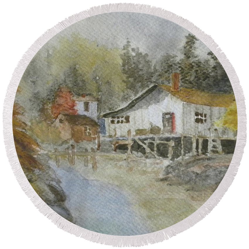 Landscape Water Color Ocean Harbor Houses Woods Round Beach Towel featuring the painting Bass Harbor Retreat by Scott W White