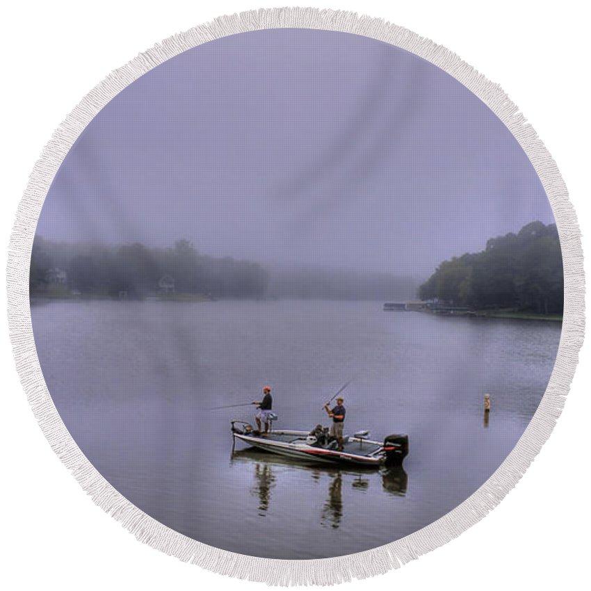 Reid Callaway Lake Oconee Round Beach Towel featuring the photograph Bass Masters Lake Oconee Fishing Art by Reid Callaway
