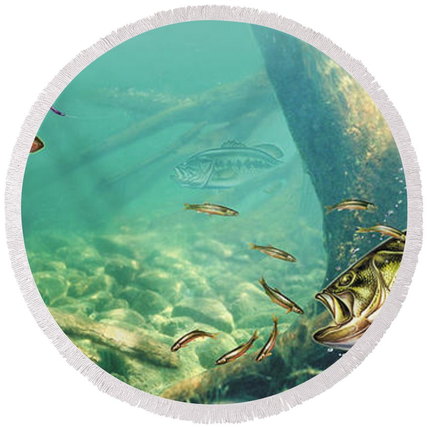 Jon Q Wright Round Beach Towel featuring the painting Bass Pond by Jon Wright