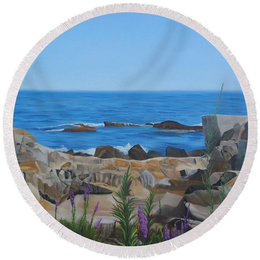 Seascape Round Beach Towel featuring the painting Bass Rocks Gloucester by Lea Novak