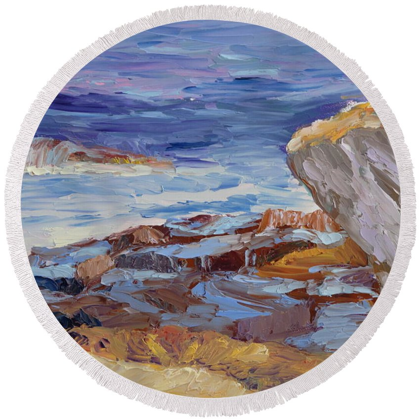 Seascape Painting Round Beach Towel featuring the painting Bass Rocks by Lea Novak