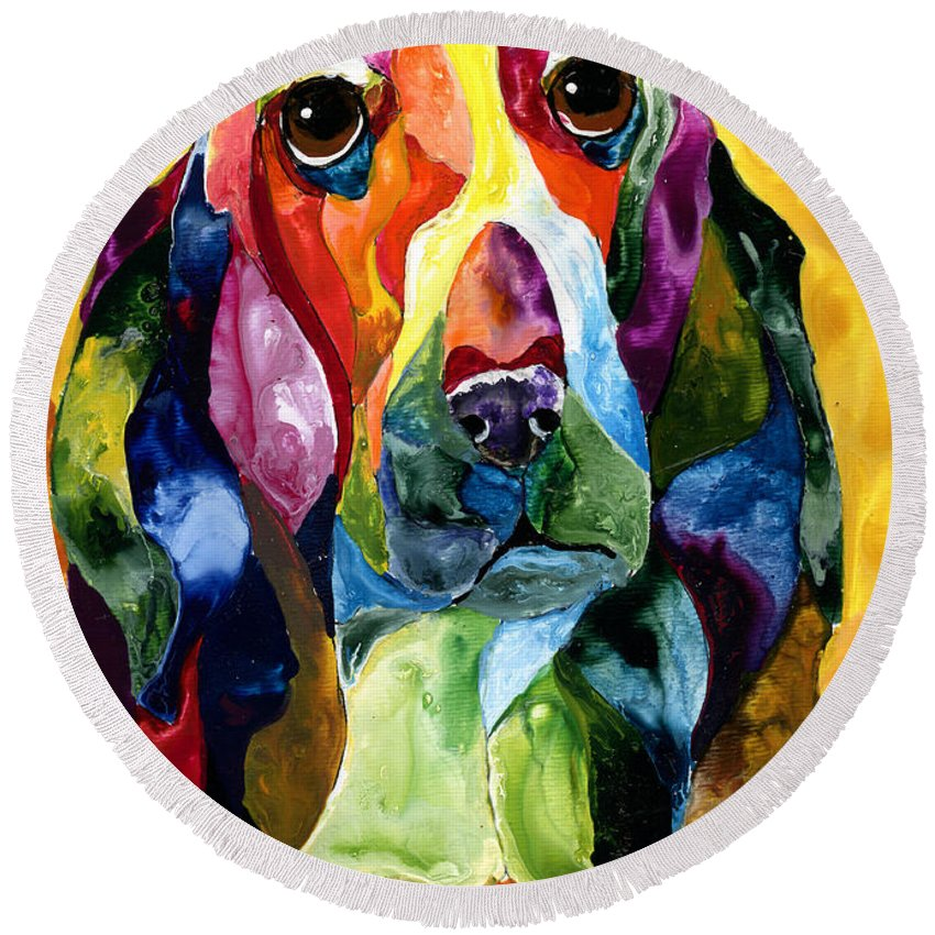 Basset Hound Round Beach Towel featuring the painting Basset Hound Blues by Sherry Shipley
