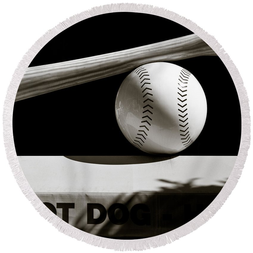 Baseball Round Beach Towel featuring the photograph Bat And Ball by Dave Bowman