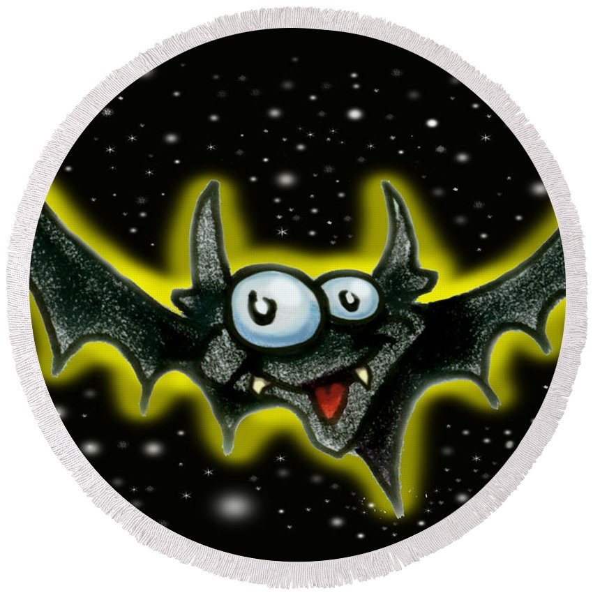 Bat Round Beach Towel featuring the greeting card Bat by Kevin Middleton