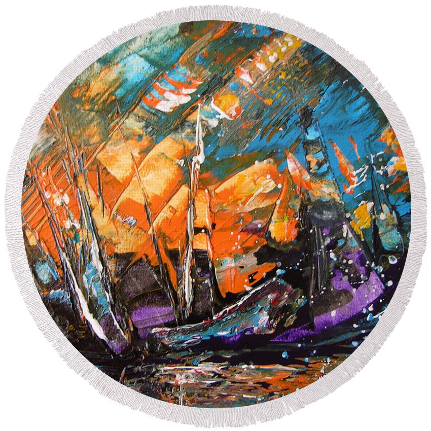 Acrylics Round Beach Towel featuring the painting Bataille Navale by Miki De Goodaboom