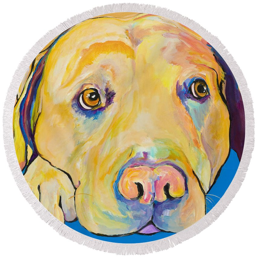 Dog Paintings Yellow Lab Puppy Colorful Animals Pets Round Beach Towel featuring the painting Bath Time by Pat Saunders-White