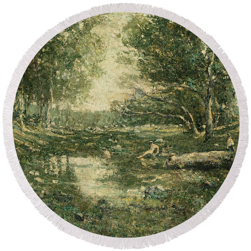 Ernest Lawson Round Beach Towel featuring the painting Bathers. Woodland by Ernest Lawson