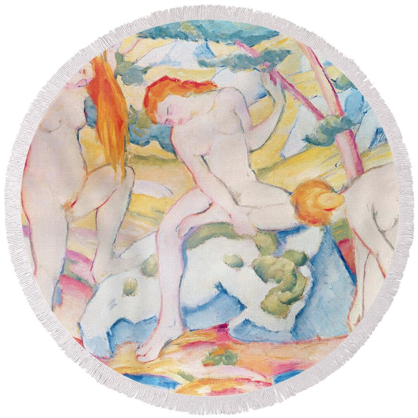 Bathing Round Beach Towel featuring the painting Bathing Girls by Franz Marc