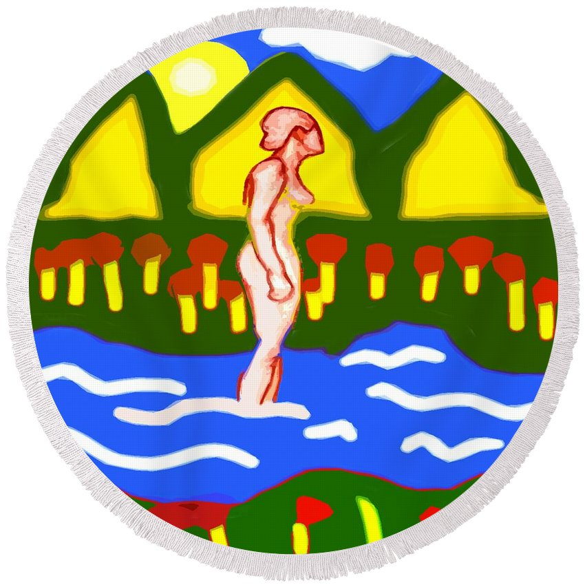 Nudes Round Beach Towel featuring the painting Bathing In A Mountain Stream by Patrick J Murphy