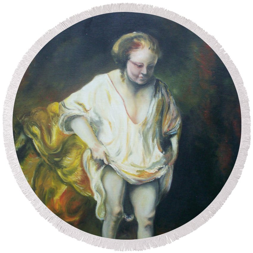 Rembrandt Round Beach Towel featuring the painting Bathing Woman by Gary Hogben