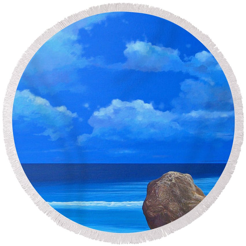 Barbados Round Beach Towel featuring the painting Bathsheba by Hunter Jay