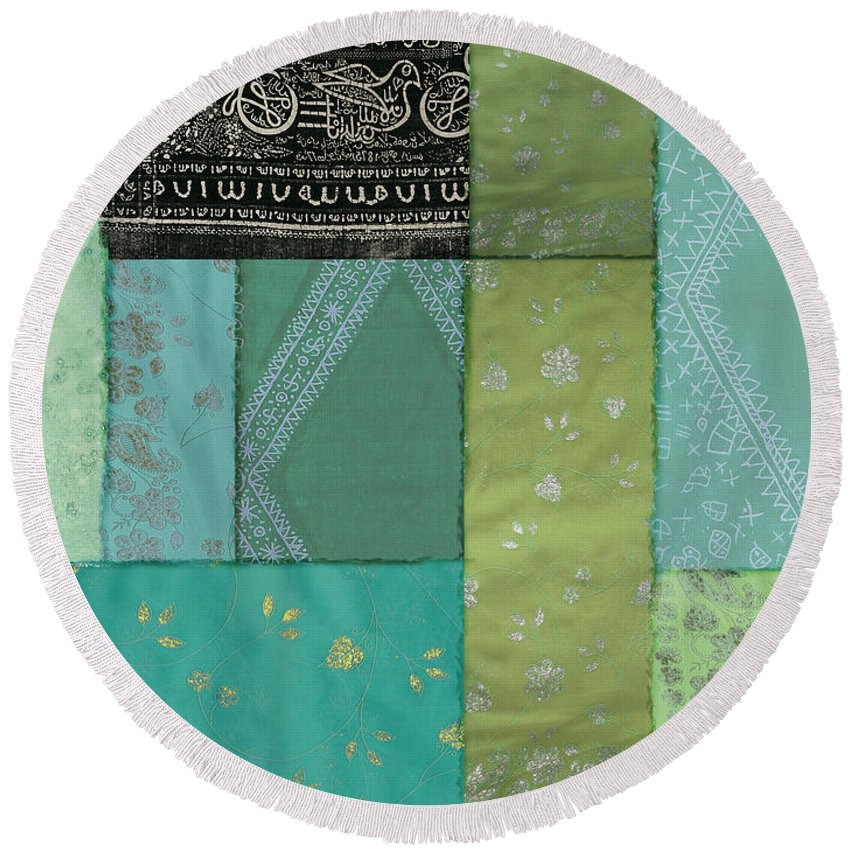 Batik Round Beach Towel featuring the painting Batik Sky by Mindy Sommers
