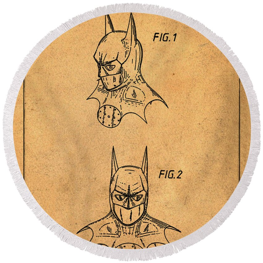 Batman Round Beach Towel featuring the photograph Batman Cowl Patent In Sepia by Bill Cannon