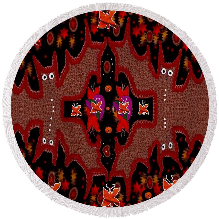 Drawing Round Beach Towel featuring the mixed media Bats In The Dark by Pepita Selles
