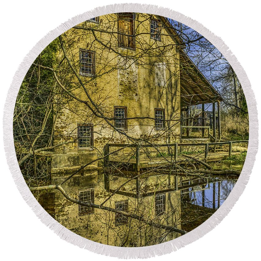 Gristmill Round Beach Towel featuring the photograph Batsto Gristmill Reflection by Nick Zelinsky
