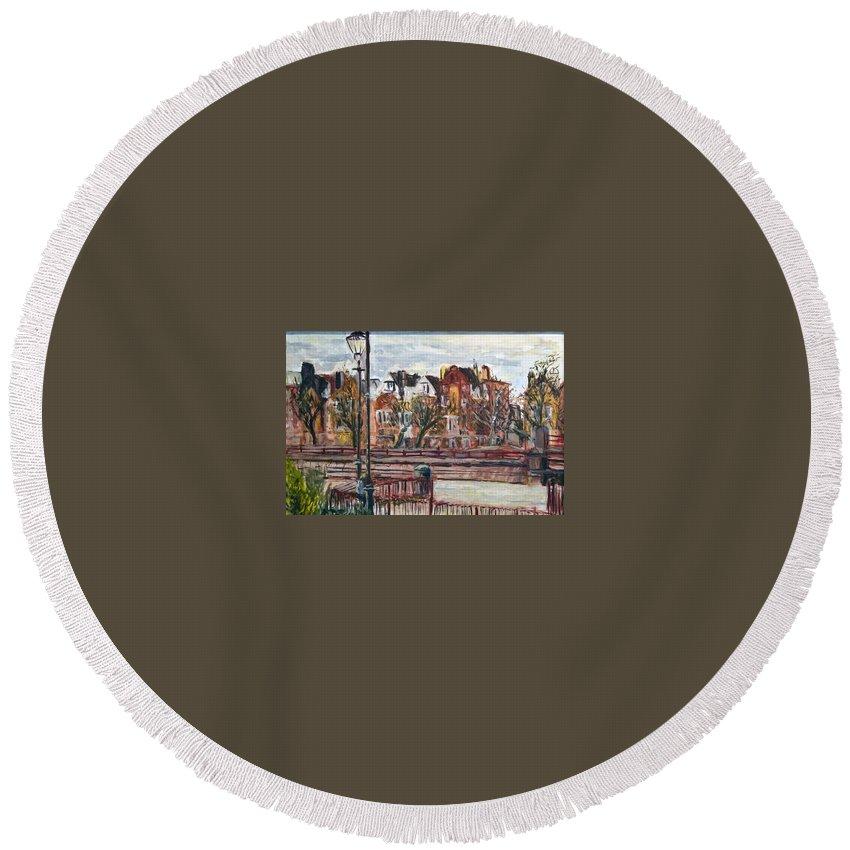 Landscape Round Beach Towel featuring the painting Battersea Park by Pablo de Choros