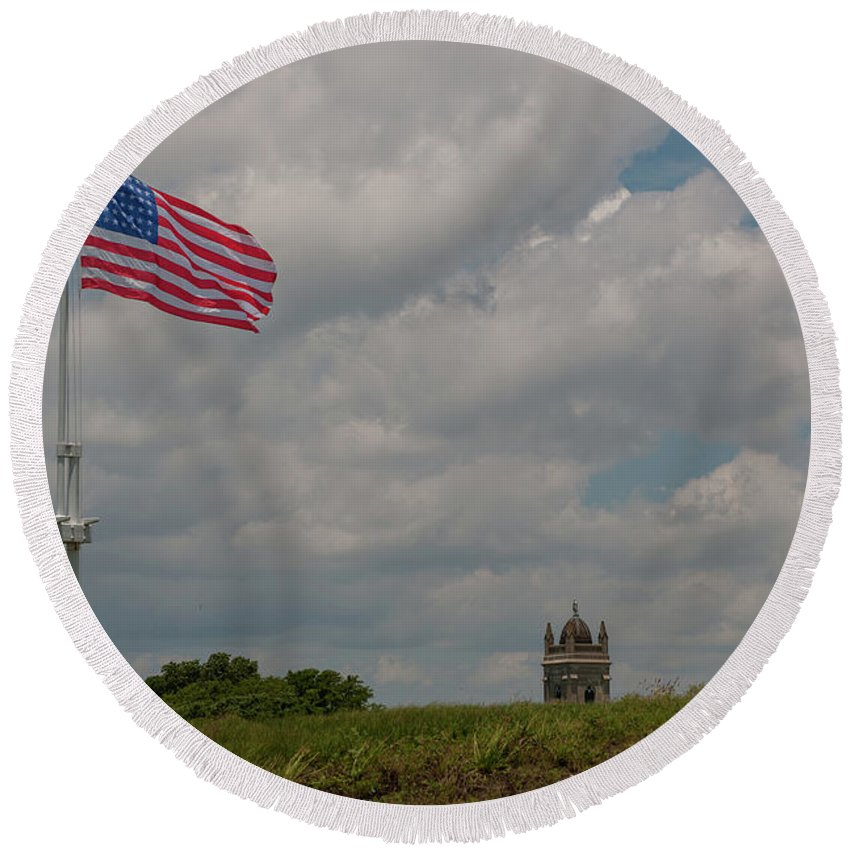 Stars And Stripes Round Beach Towel featuring the photograph Battle Flag by Dale Powell