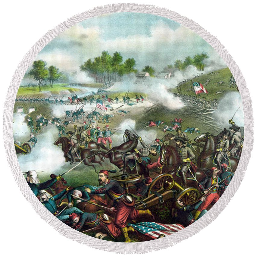 Civil War Round Beach Towel featuring the painting Battle Of Bull Run by War Is Hell Store