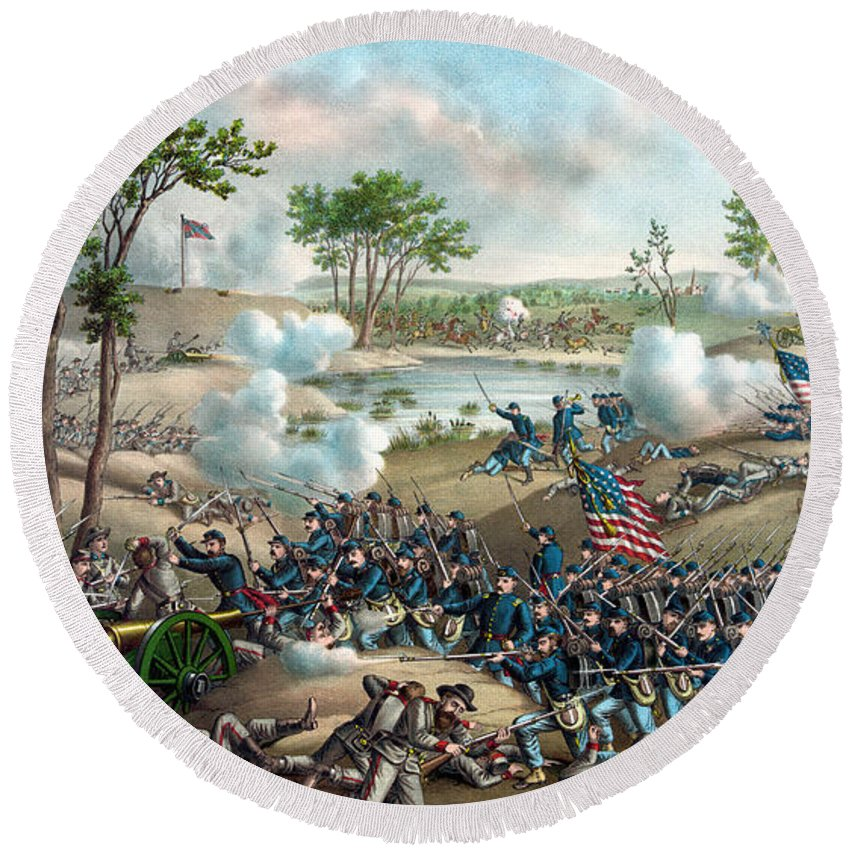 Civil War Round Beach Towel featuring the painting Battle Of Cold Harbor by War Is Hell Store