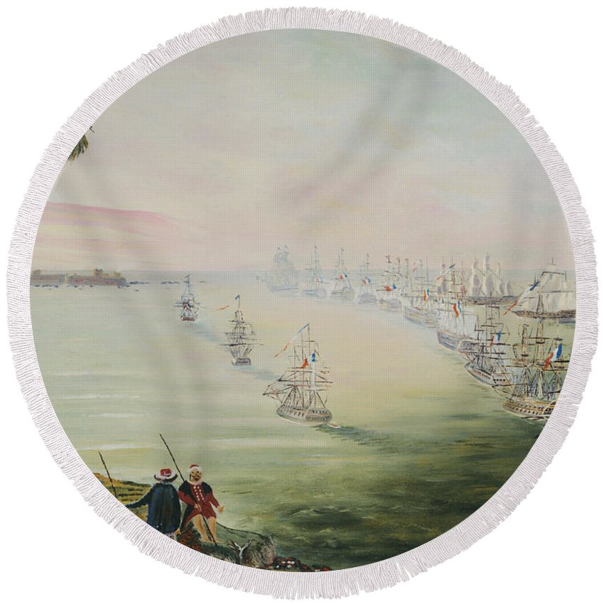 Sea Battle Round Beach Towel featuring the painting Battle Of The Nile by Richard Barham