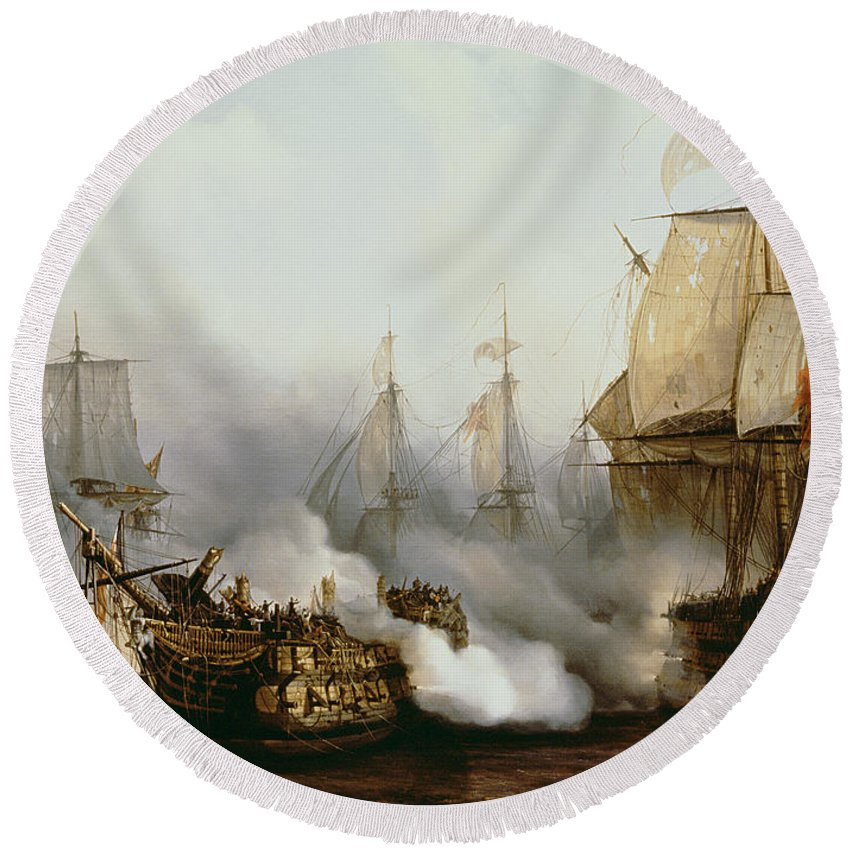 Battle Of Trafalgar By Louis Philippe Crepin Round Beach Towel featuring the painting Battle of Trafalgar by Louis Philippe Crepin
