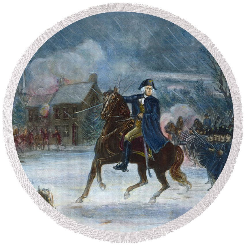 1776 Round Beach Towel featuring the photograph Battle Of Trenton, 1776 by Granger