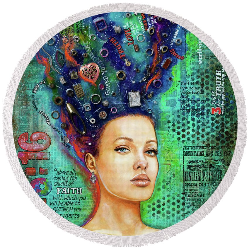 Woman Round Beach Towel featuring the mixed media Battlefield Mind 2 by Christine Kerrick