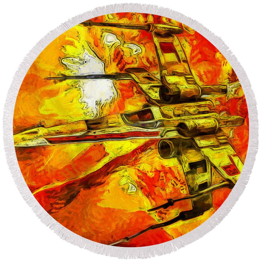 Star Wars Round Beach Towel featuring the digital art Star Wars X-wing Fighter - Oil by Tommy Anderson