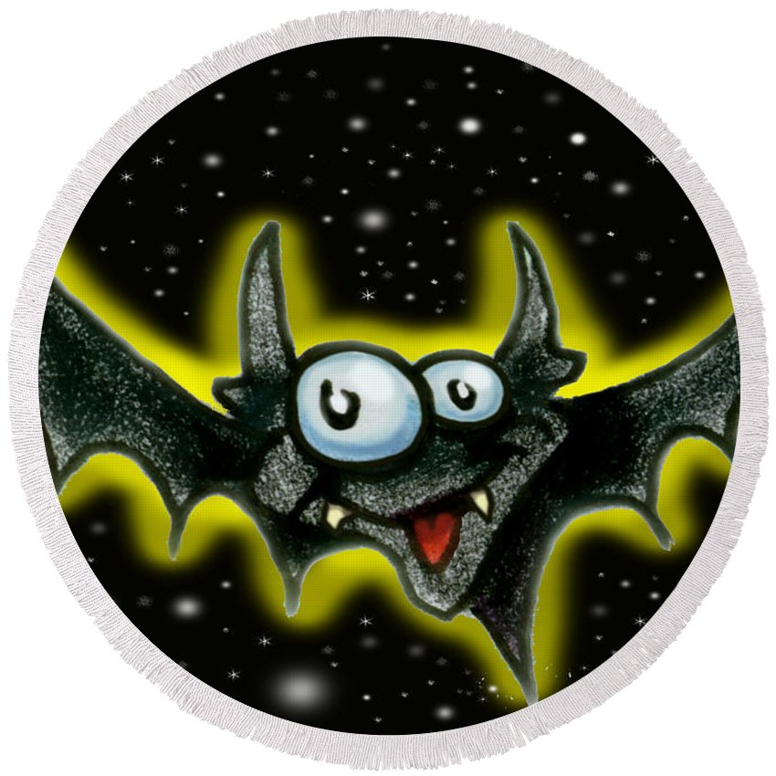 Bat Round Beach Towel featuring the greeting card Batty by Kevin Middleton