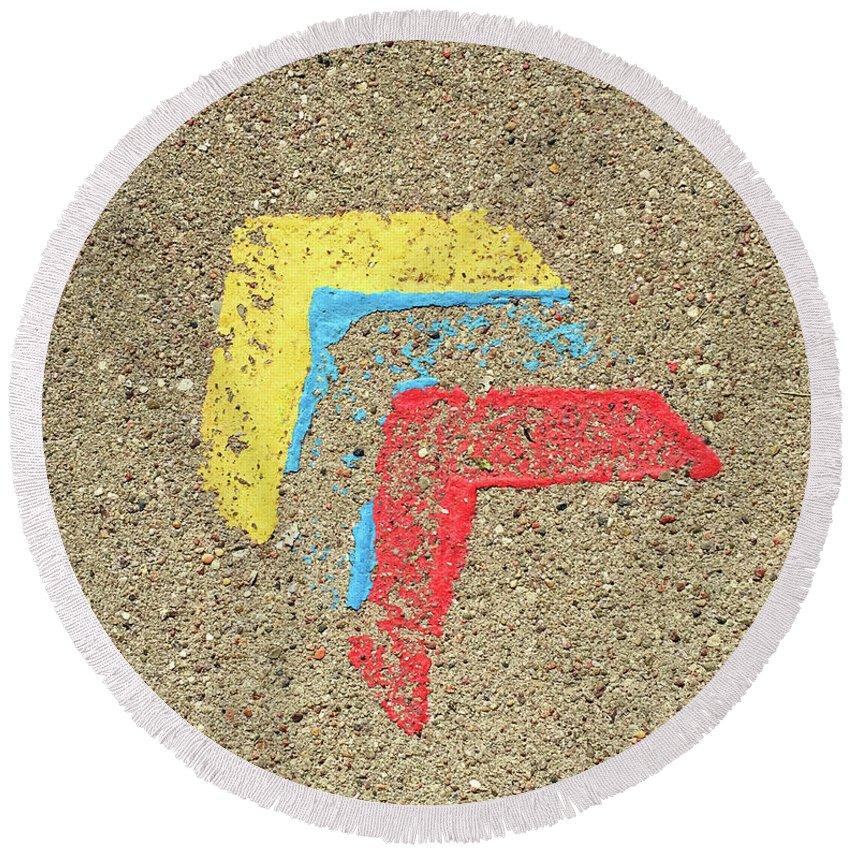 Symbol Round Beach Towel featuring the photograph Bauhaus Symbol Paving Stone by Anita Van Den Broek