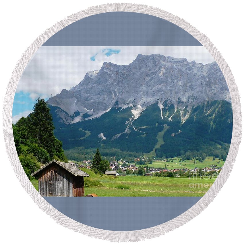 Landscape Round Beach Towel featuring the photograph Bavarian Alps Landscape by Carol Groenen