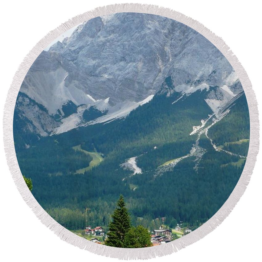 Mountains Round Beach Towel featuring the photograph Bavarian Alps With Shed by Carol Groenen
