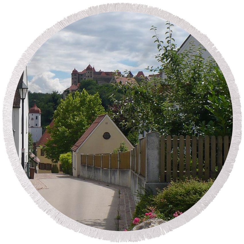 Castle Round Beach Towel featuring the photograph Bavarian Village With Castle View by Carol Groenen