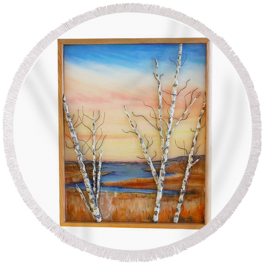 Birch Bay Ocean Tide Coastal Fall Winter Sky Round Beach Towel featuring the mixed media Bay Birch by Daniel Dubinsky