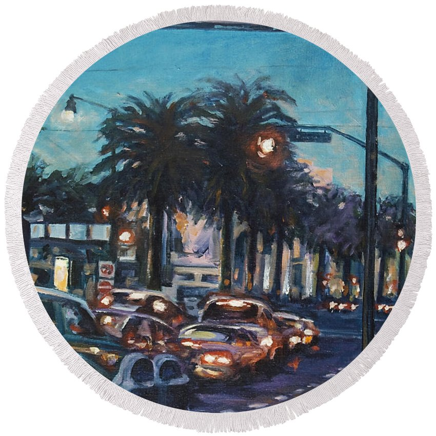 City Scape Round Beach Towel featuring the painting Bay Bridge by Rick Nederlof