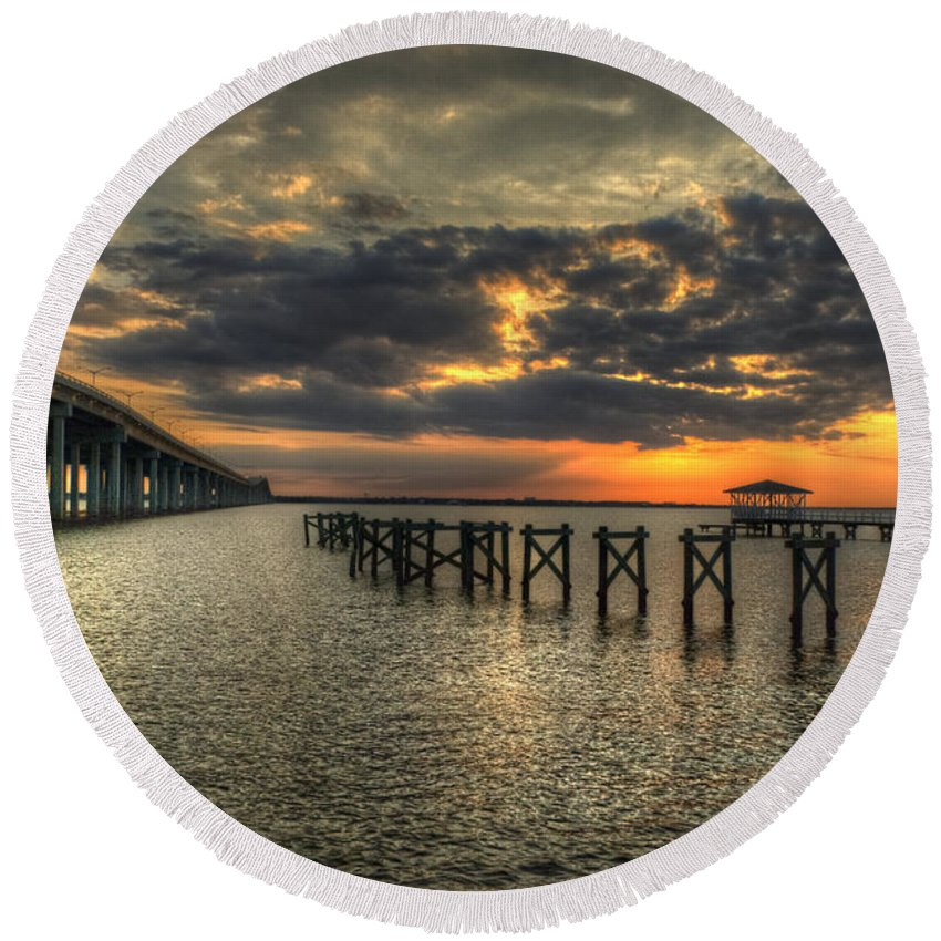 Bay St. Louis Round Beach Towel featuring the photograph Bay Bridge Sunset by Beth Gates-Sully