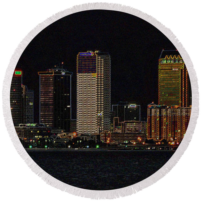 Artwork Round Beach Towel featuring the painting Bay City by David Lee Thompson