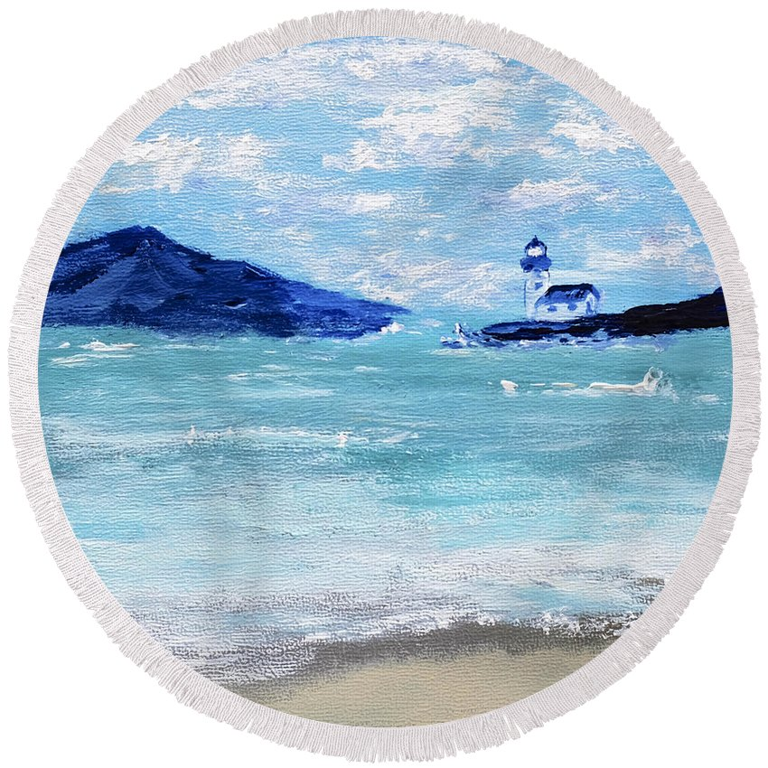 Bay Round Beach Towel featuring the painting Bay Harbor by Dick Bourgault
