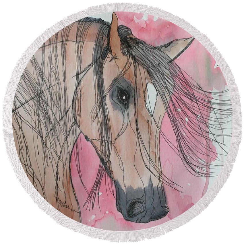 Horse Round Beach Towel featuring the painting Bay Horse Watercolor by LKB Art and Photography